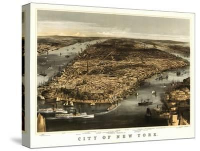New York City, New York - Panoramic Map-Lantern Press-Stretched Canvas Print