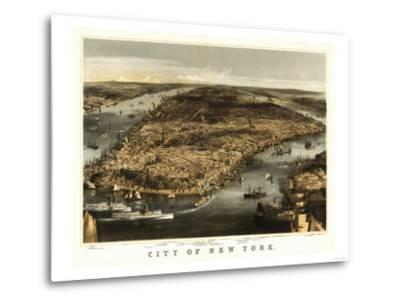 New York City, New York - Panoramic Map-Lantern Press-Metal Print