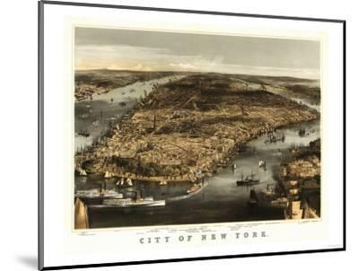 New York City, New York - Panoramic Map-Lantern Press-Mounted Art Print