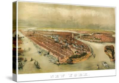 New York City, New York - Panoramic Map-Lantern Press-Stretched Canvas Print