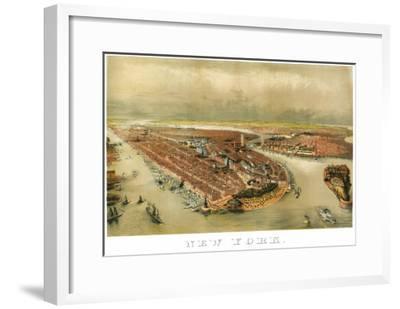 New York City, New York - Panoramic Map-Lantern Press-Framed Art Print