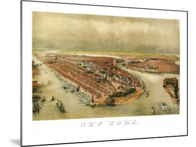 New York City, New York - Panoramic Map-Lantern Press-Mounted Art Print