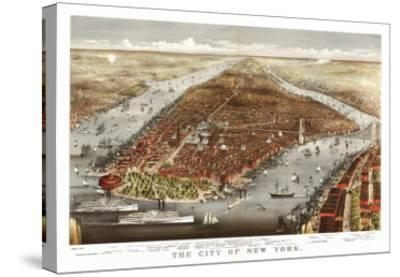 New York City, New York - Panoramic Map No. 1-Lantern Press-Stretched Canvas Print