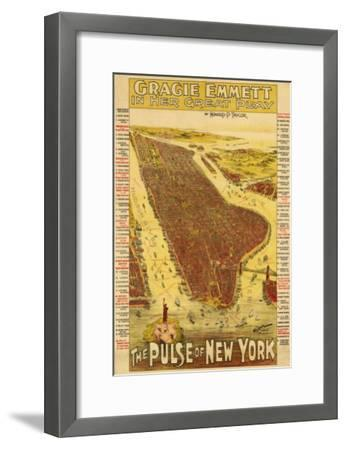 New York City, New York - Panoramic Map-Lantern Press-Framed Art Print