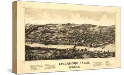 Livermore Falls, Maine - Panoramic Map-Lantern Press-Stretched Canvas Print