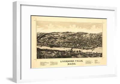 Livermore Falls, Maine - Panoramic Map-Lantern Press-Framed Art Print
