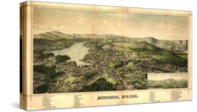 Monson, Maine - Panoramic Map-Lantern Press-Stretched Canvas Print