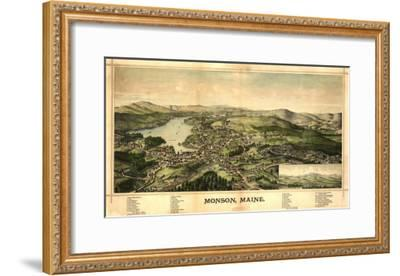 Monson, Maine - Panoramic Map-Lantern Press-Framed Art Print