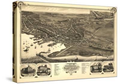 Nantucket, Massachusetts - Panoramic Map-Lantern Press-Stretched Canvas Print
