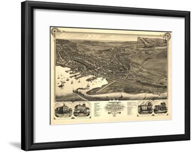 Nantucket, Massachusetts - Panoramic Map-Lantern Press-Framed Art Print