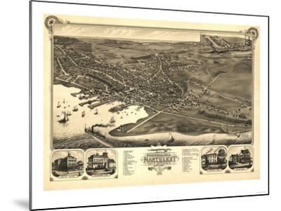 Nantucket, Massachusetts - Panoramic Map-Lantern Press-Mounted Art Print