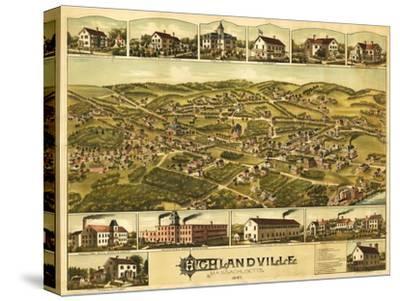 Needham Heights, Massachusetts - Panoramic Map-Lantern Press-Stretched Canvas Print