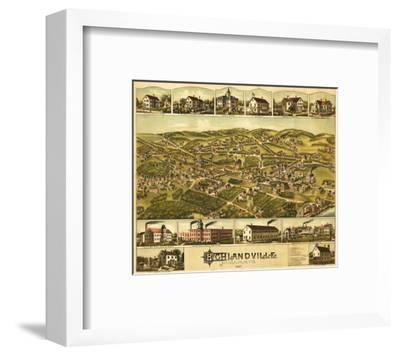 Needham Heights, Massachusetts - Panoramic Map-Lantern Press-Framed Art Print