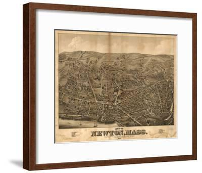 Newton, Massachusetts - Panoramic Map-Lantern Press-Framed Art Print