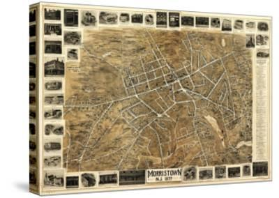Morristown, New Jersey - Panoramic Map-Lantern Press-Stretched Canvas Print