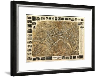 Morristown, New Jersey - Panoramic Map-Lantern Press-Framed Art Print