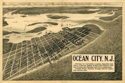 Ocean City, New Jersey - Panoramic Map-Lantern Press-Stretched Canvas Print