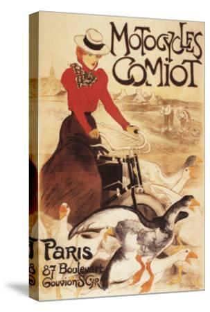 Paris, France - Comiot Motocycles Woman and Geese Promo Poster-Lantern Press-Stretched Canvas Print
