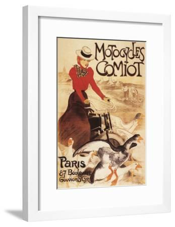 Paris, France - Comiot Motocycles Woman and Geese Promo Poster-Lantern Press-Framed Art Print