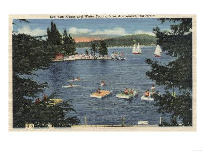 Lake Arrowhead, California - Swimmers Enjoying Floats & Sports-Lantern Press-Stretched Canvas Print