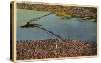San Francisco, California - Aerial, San Francisco-Oakland Bay Bridge-Lantern Press-Stretched Canvas Print