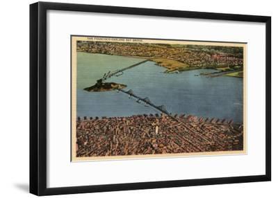 San Francisco, California - Aerial, San Francisco-Oakland Bay Bridge-Lantern Press-Framed Art Print