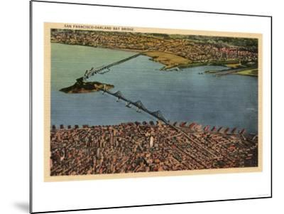 San Francisco, California - Aerial, San Francisco-Oakland Bay Bridge-Lantern Press-Mounted Art Print