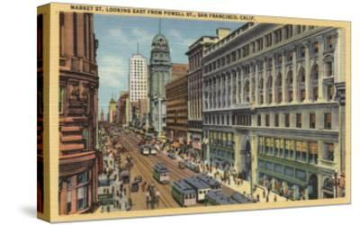 San Francisco, California - Eastern View of Market St from Powell St-Lantern Press-Stretched Canvas Print