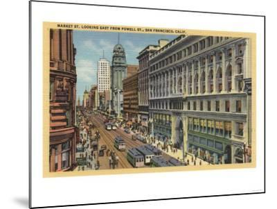 San Francisco, California - Eastern View of Market St from Powell St-Lantern Press-Mounted Art Print