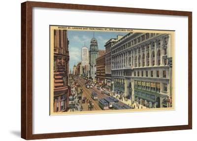 San Francisco, California - Eastern View of Market St from Powell St-Lantern Press-Framed Art Print
