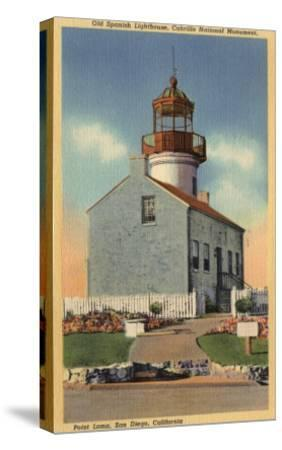 San Diego, CA - Cabrillo National Monument, Point Loma Lighthouse-Lantern Press-Stretched Canvas Print