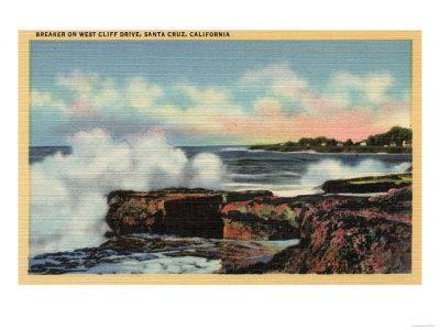 Santa Cruz, California - View of a Breaker on West Cliff Drive-Lantern Press-Stretched Canvas Print