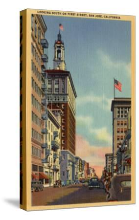 San Jose, California - Southern View of First Street-Lantern Press-Stretched Canvas Print