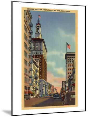 San Jose, California - Southern View of First Street-Lantern Press-Mounted Art Print