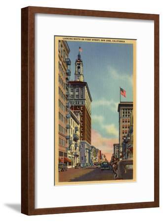 San Jose, California - Southern View of First Street-Lantern Press-Framed Art Print