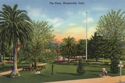 Watsonville, California - View of the Plaza-Lantern Press-Stretched Canvas Print