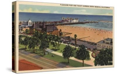 Santa Monica, California - Aerial of Pleasure Pier & Yacht Harbor-Lantern Press-Stretched Canvas Print