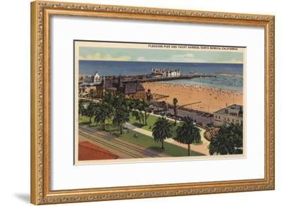 Santa Monica, California - Aerial of Pleasure Pier & Yacht Harbor-Lantern Press-Framed Art Print