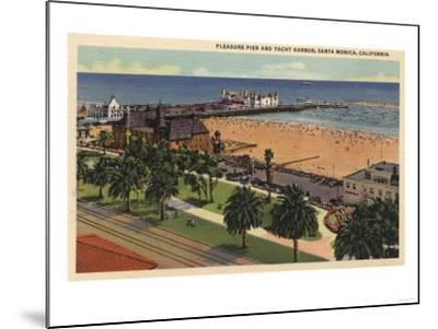 Santa Monica, California - Aerial of Pleasure Pier & Yacht Harbor-Lantern Press-Mounted Art Print