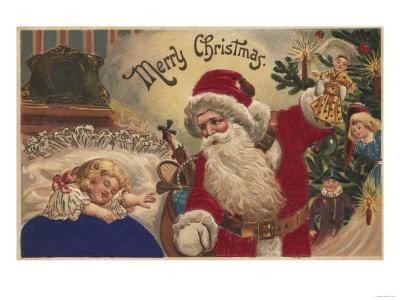 Christmas Greeting - Santa Hanging Ornaments-Lantern Press-Framed Art Print