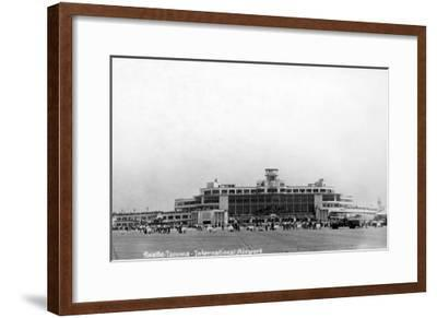 Seattle, Washington - Exterior View of Seattle-Tacoma Int'l Airport-Lantern Press-Framed Art Print
