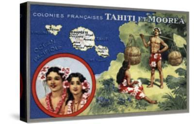 Tahiti - Map of the Island and Moorea Island, Natives Wearing Lais-Lantern Press-Stretched Canvas Print