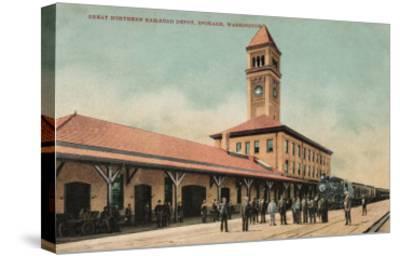 Spokane, Washington - Great Northern Railroad Depot-Lantern Press-Stretched Canvas Print
