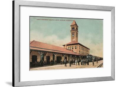 Spokane, Washington - Great Northern Railroad Depot-Lantern Press-Framed Art Print