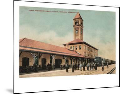 Spokane, Washington - Great Northern Railroad Depot-Lantern Press-Mounted Art Print