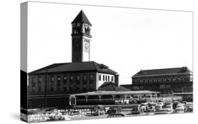 Spokane, Washington - Exterior View of Great Northern and Union Depots-Lantern Press-Stretched Canvas Print