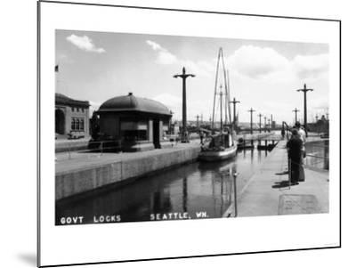 Seattle, Washington - View of Sailboat in US Government Locks-Lantern Press-Mounted Art Print