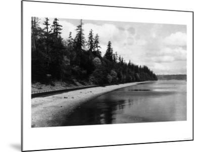 Beach Front View of Point Defiance Park - Tacoma, WA-Lantern Press-Mounted Art Print