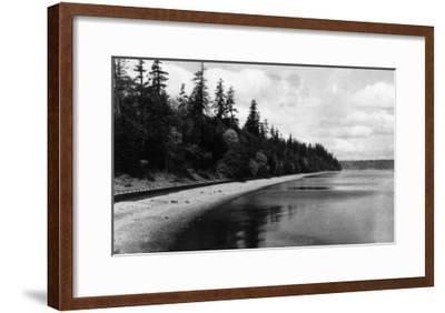 Beach Front View of Point Defiance Park - Tacoma, WA-Lantern Press-Framed Art Print