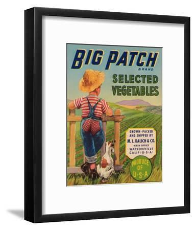 Big Patch Vegetable Label - Watsonville, CA-Lantern Press-Framed Art Print